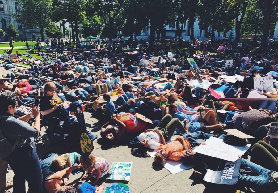 Young people lie down in protest at Climate Strike Rally in New York City, September 20, 2019.