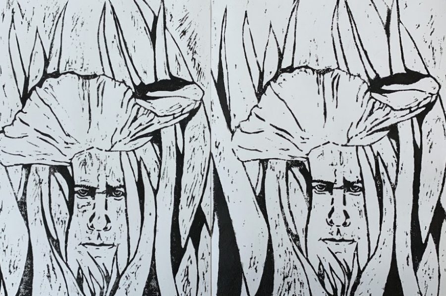 black and white drawing of faces in tall grasses in field