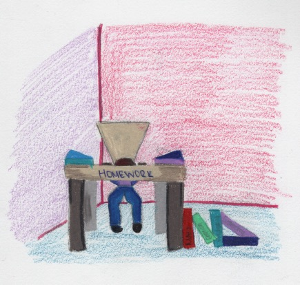 drawing of a student at desk with bag over head
