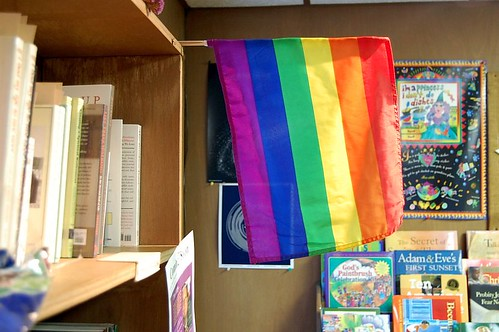 rainbow flag hanging in a classroom